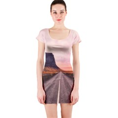 Iceland Sky Clouds Sunset Short Sleeve Bodycon Dress