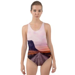 Iceland Sky Clouds Sunset Cut Out Back One Piece Swimsuit