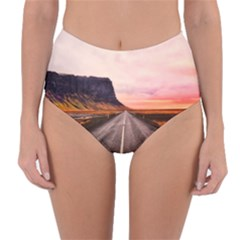 Iceland Sky Clouds Sunset Reversible High Waist Bikini Bottoms