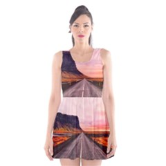 Iceland Sky Clouds Sunset Scoop Neck Skater Dress