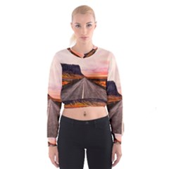 Iceland Sky Clouds Sunset Cropped Sweatshirt