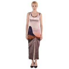 Iceland Sky Clouds Sunset Fitted Maxi Dress