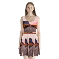 Iceland Sky Clouds Sunset Split Back Mini Dress