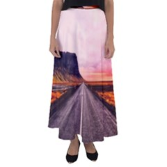 Iceland Sky Clouds Sunset Flared Maxi Skirt