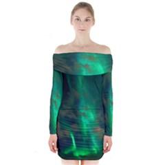 Northern Lights Plasma Sky Long Sleeve Off Shoulder Dress