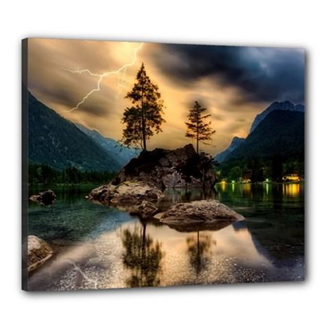Sunset Dusk Sky Clouds Lightning Canvas 24  X 20