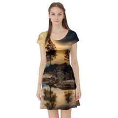 Sunset Dusk Sky Clouds Lightning Short Sleeve Skater Dress