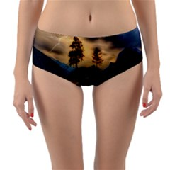 Sunset Dusk Sky Clouds Lightning Reversible Mid Waist Bikini Bottoms