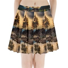 Sunset Dusk Sky Clouds Lightning Pleated Mini Skirt