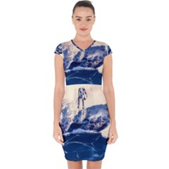 Antarctica Mountains Sunrise Snow Capsleeve Drawstring Dress