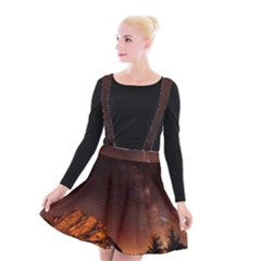 Italy Night Evening Stars Suspender Skater Skirt