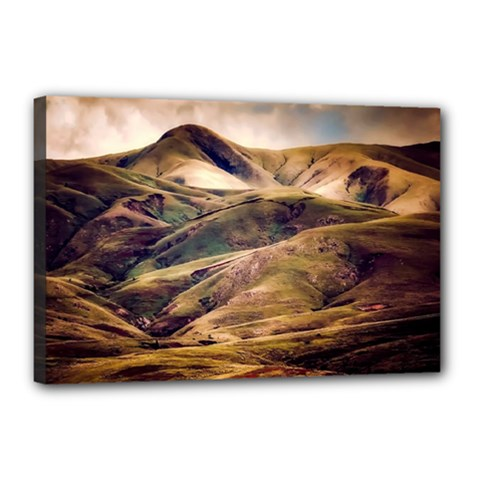 Iceland Mountains Sky Clouds Canvas 18  X 12