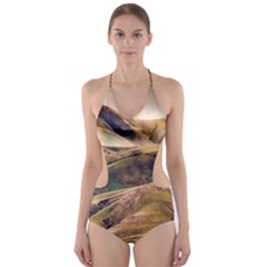 Iceland Mountains Sky Clouds Cut Out One Piece Swimsuit