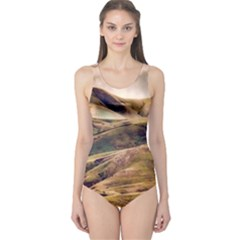 Iceland Mountains Sky Clouds One Piece Swimsuit
