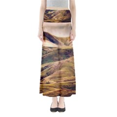 Iceland Mountains Sky Clouds Full Length Maxi Skirt