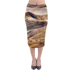 Iceland Mountains Sky Clouds Midi Pencil Skirt