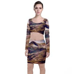 Iceland Mountains Sky Clouds Long Sleeve Crop Top & Bodycon Skirt Set