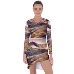 Iceland Mountains Sky Clouds Asymmetric Cut Out Shift Dress