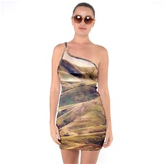 Iceland Mountains Sky Clouds One Soulder Bodycon Dress