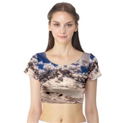 Italy Landscape Mountains Winter Short Sleeve Crop Top