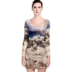 Italy Landscape Mountains Winter Long Sleeve Bodycon Dress