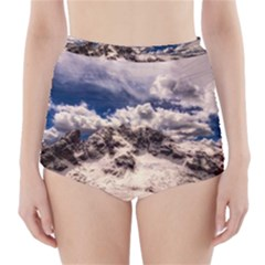 Italy Landscape Mountains Winter High Waisted Bikini Bottoms