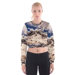 Italy Landscape Mountains Winter Cropped Sweatshirt