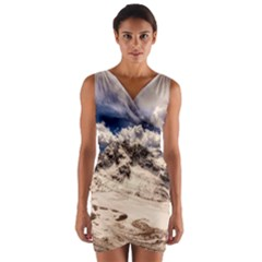 Italy Landscape Mountains Winter Wrap Front Bodycon Dress