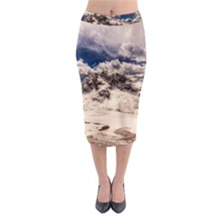 Italy Landscape Mountains Winter Midi Pencil Skirt
