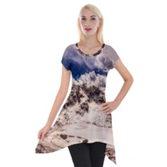 Italy Landscape Mountains Winter Short Sleeve Side Drop Tunic