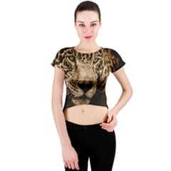 Jaguar Water Stalking Eyes Crew Neck Crop Top