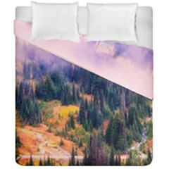 Landscape Fog Mist Haze Forest Duvet Cover Double Side (california King Size)