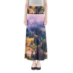 Landscape Fog Mist Haze Forest Full Length Maxi Skirt