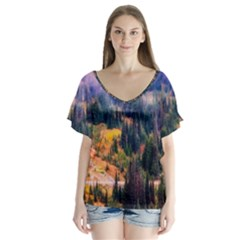 Landscape Fog Mist Haze Forest V Neck Flutter Sleeve Top