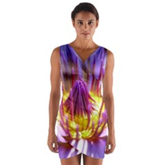 Flower Blossom Bloom Nature Wrap Front Bodycon Dress