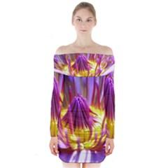 Flower Blossom Bloom Nature Long Sleeve Off Shoulder Dress
