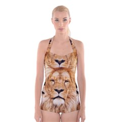 Africa African Animal Cat Close Up Boyleg Halter Swimsuit
