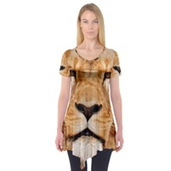 Africa African Animal Cat Close Up Short Sleeve Tunic