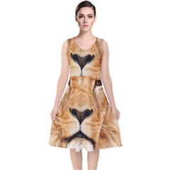 Africa African Animal Cat Close Up V Neck Midi Sleeveless Dress