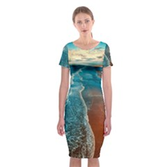 Sea Ocean Coastline Coast Sky Classic Short Sleeve Midi Dress