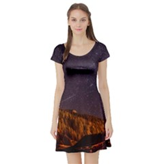 Italy Cabin Stars Milky Way Night Short Sleeve Skater Dress