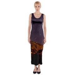 Italy Cabin Stars Milky Way Night Fitted Maxi Dress
