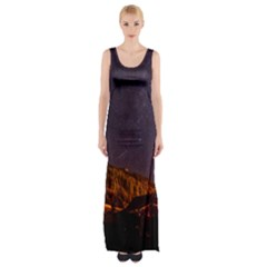 Italy Cabin Stars Milky Way Night Maxi Thigh Split Dress
