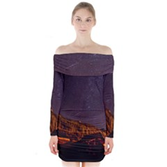 Italy Cabin Stars Milky Way Night Long Sleeve Off Shoulder Dress