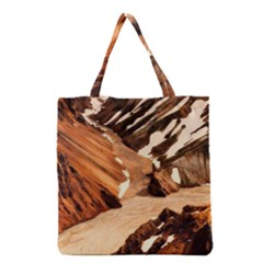 Iceland Mountains Snow Ravine Grocery Tote Bag