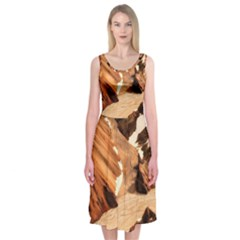 Iceland Mountains Snow Ravine Midi Sleeveless Dress