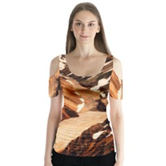 Iceland Mountains Snow Ravine Butterfly Sleeve Cutout Tee