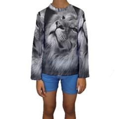 Feline Lion Tawny African Zoo Kids  Long Sleeve Swimwear