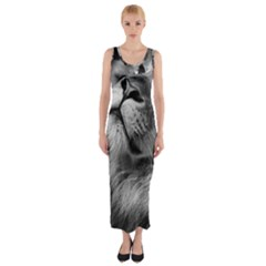 Feline Lion Tawny African Zoo Fitted Maxi Dress