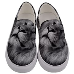 Feline Lion Tawny African Zoo Men s Canvas Slip Ons